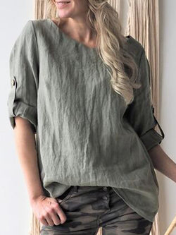 Plus Size Linen Solid 2019 New Tops Blouses