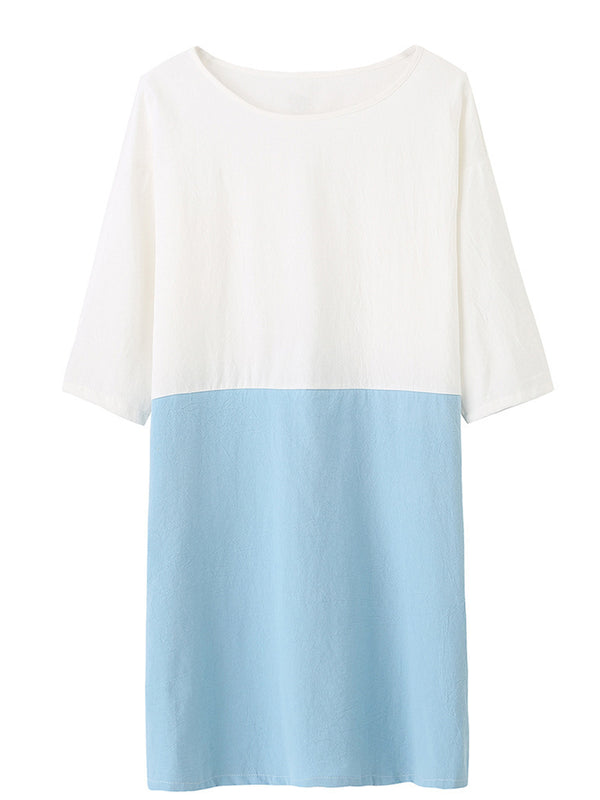 Women  Shift Daily 3/4 Sleeve Linen Color-block  Dress