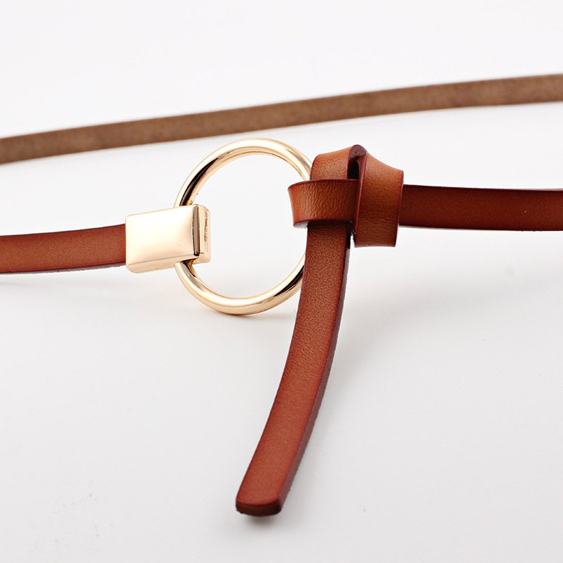 Women Casual Plain Split Leather Belt