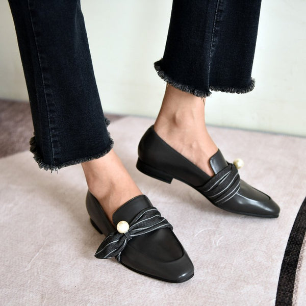 Black Ribbon Tie Leather Casual Flat Heel Spring Loafers