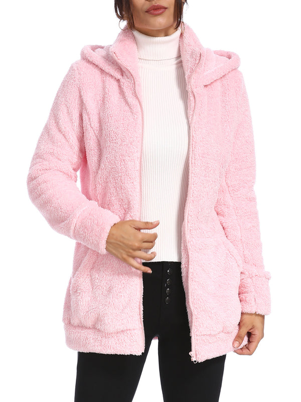 Women's Casual Hoodie Pockets Zipper Winter Coat