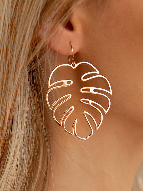 Womens Trendy Hollow Leaves Ethnic Drop Earrings