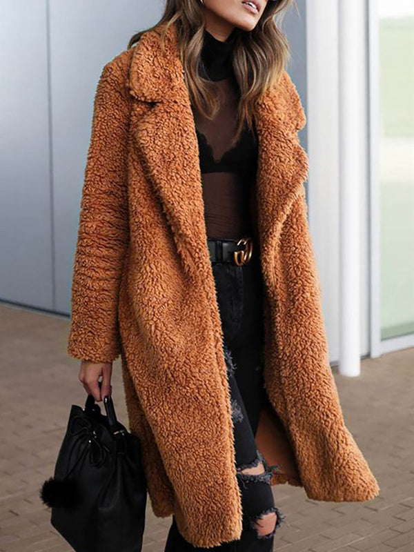 Women Lapel Solid Long Sleeve Faux Fur Coat