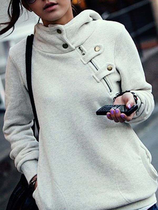 Women Long Hooded Sweatshirt Button-up Asymmetric