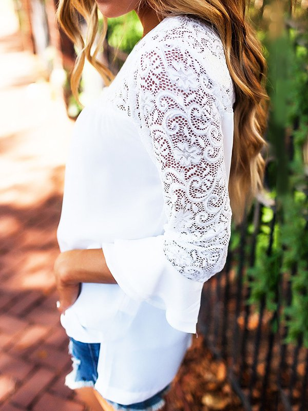 Crew Neck Bell Sleeve Tops - Blouses