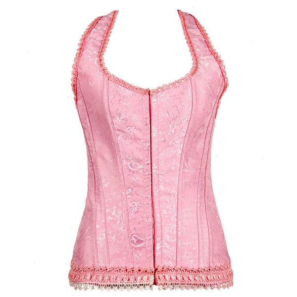 Sexy Pink Color Waist Trainer Corset With Halter For Women