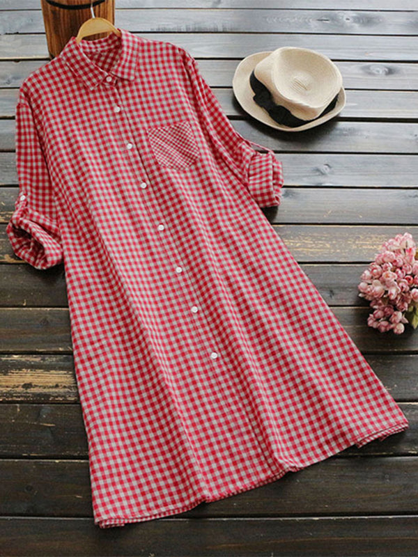 Casual Long Sleeve Daytime Shift Shirt Collar Plaid Dress