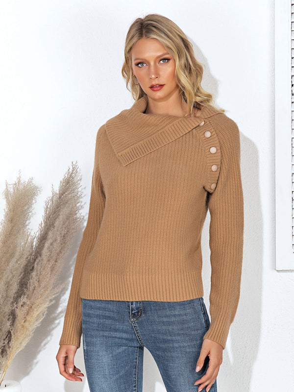 Solid Knitted Casual Sweater