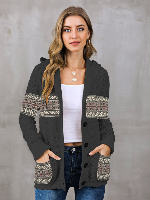 Casual Buttoned Hoodie Tribal Outerwear