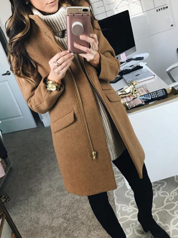 Solid Zipper Long Sleeve Stand-Up Neck Coats