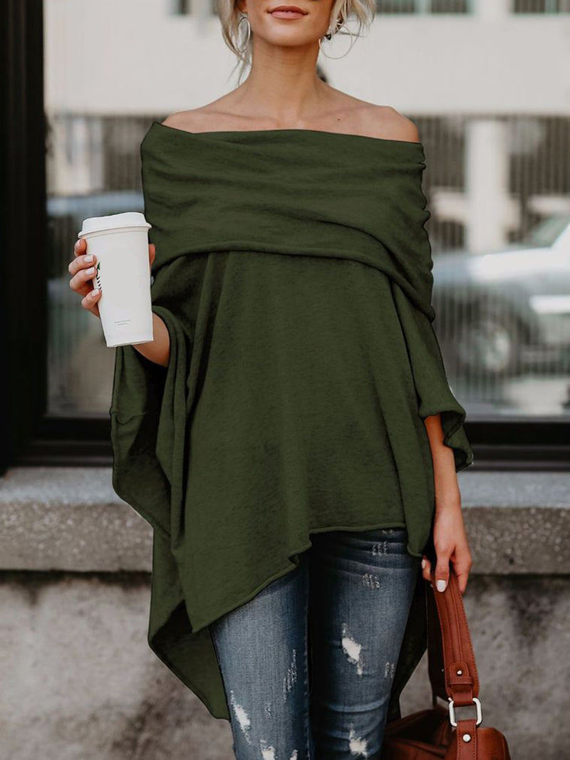 Asymmetric Batwing Off Shoulder T-Shirts
