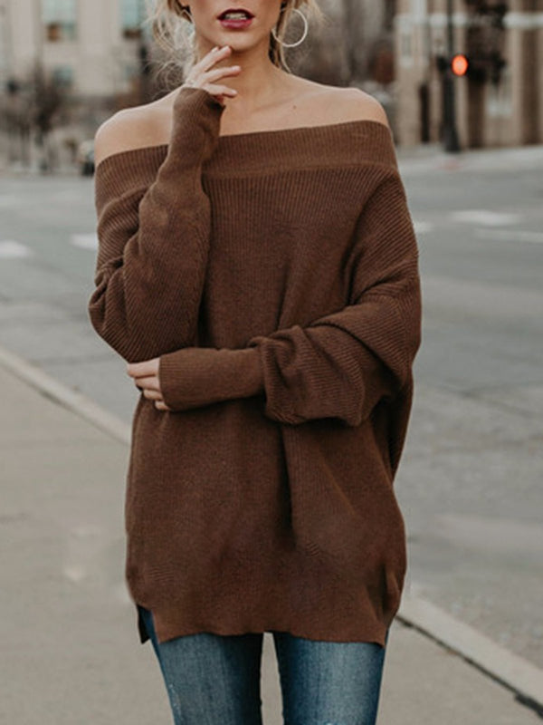 Cotton-Blend Sexy Long Sleeve Solid Sweaters