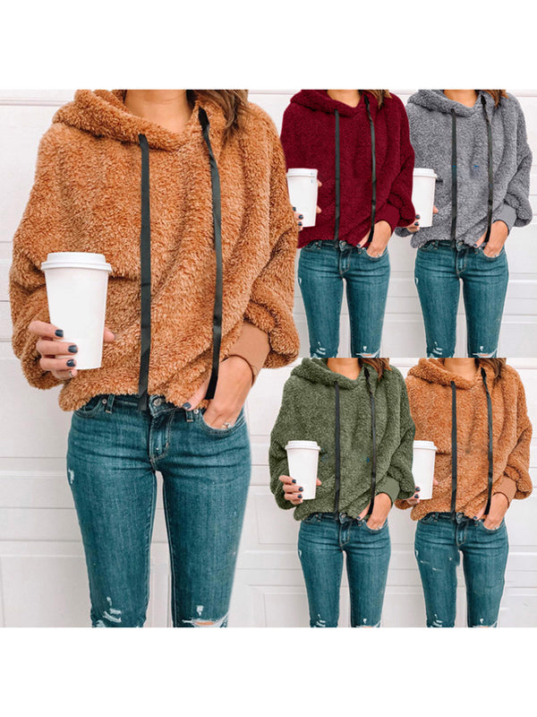 Solid Casual Long Sleeve Teddy Bear Winter Hoodies