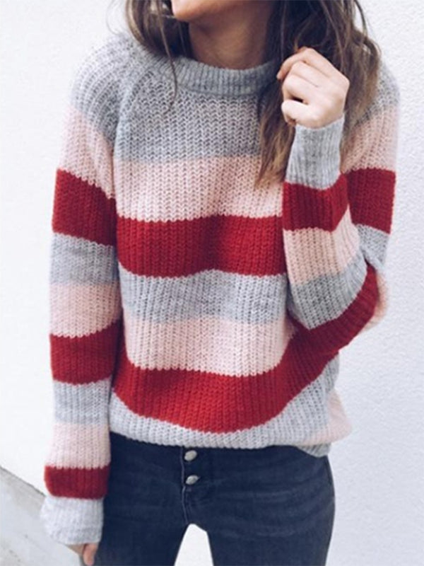 Rainbow Striped Knitted Long Sleeve Sweater