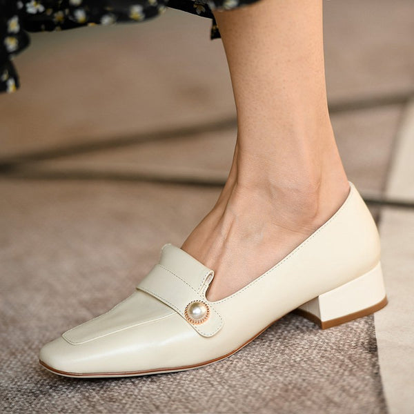 White Leather Summer Low Heel Daily Imitation Pearl Loafers