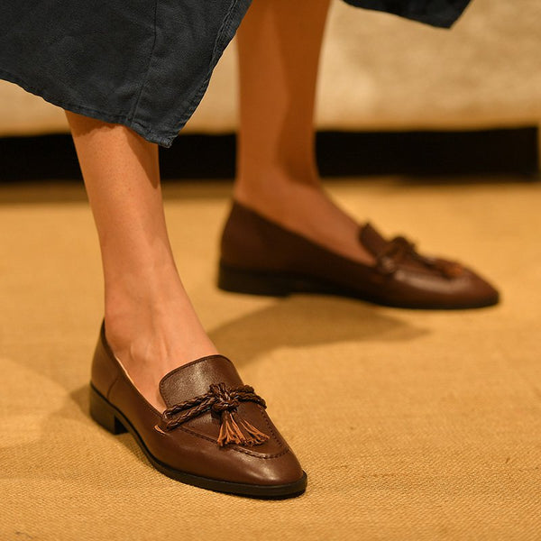 Brown Flat Heel Pu Daily Braided Loafers