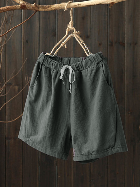 Pockets Linen Casual Solid Drawcord Plus Size Shorts