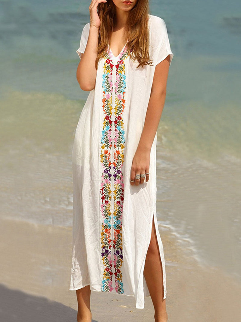 White Embroidered Shift Short Sleeve Dresses