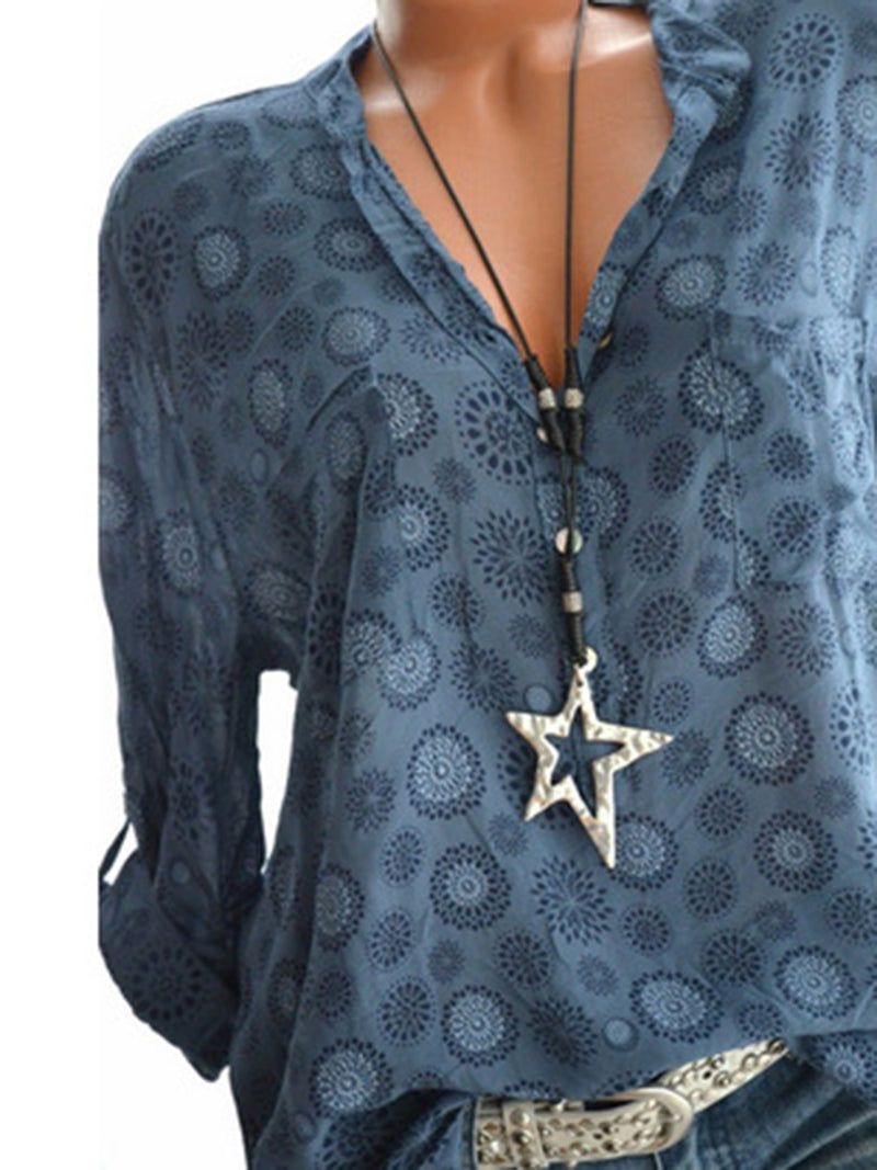 Casual Stand Collar Long Sleeve Printed Blouse