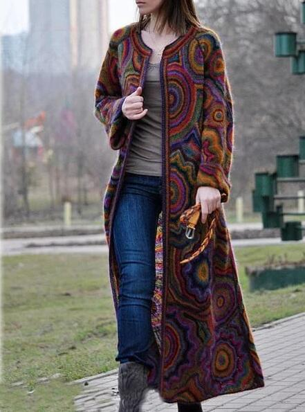 Purple Round Neck Casual Color-Block Outerwear
