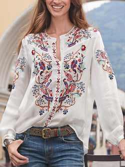 White Casual V Neck Long Sleeve Shirts & Tops