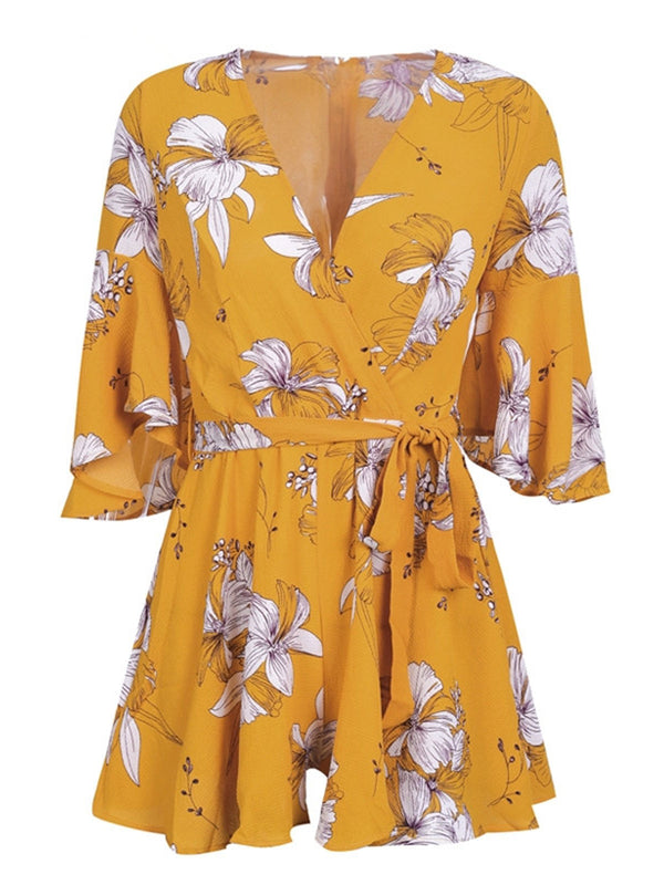 Flare Sleee Floral Print V-Neck Lace-Up Jumpsuits