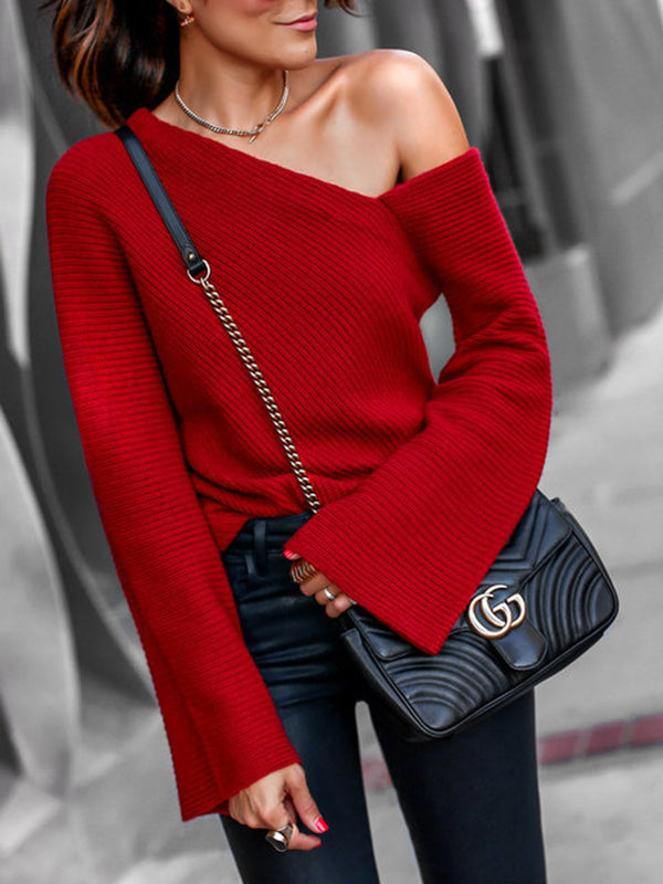 Red One Shoulder Sexy Bell Sleeve Solid Sweaters