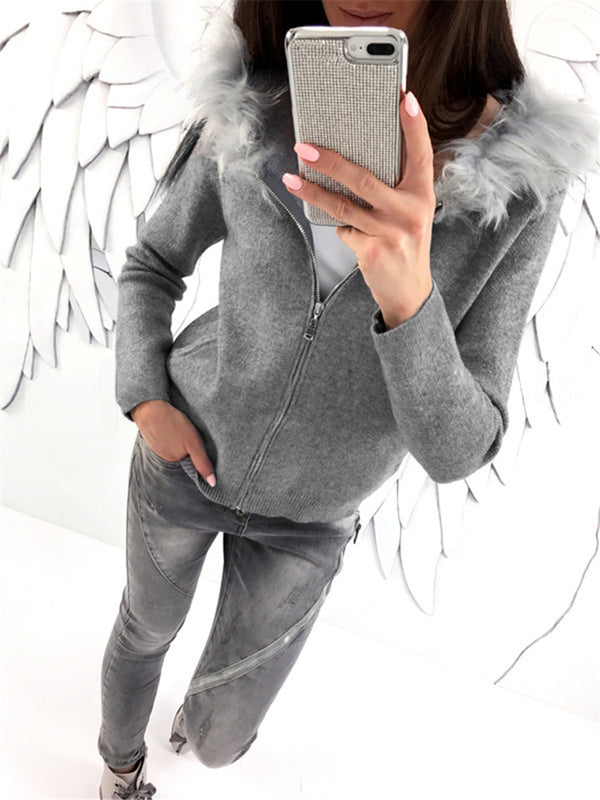Solid Long Sleeve Faux Fur Hoodie Pockets Casual Coats