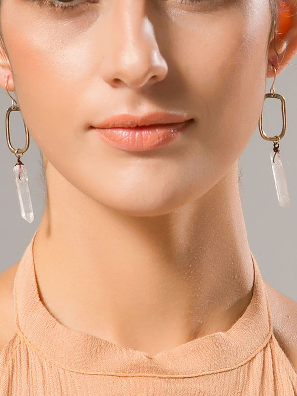 Women Raw Quartz Crystal Drop Antique Charm Earrings