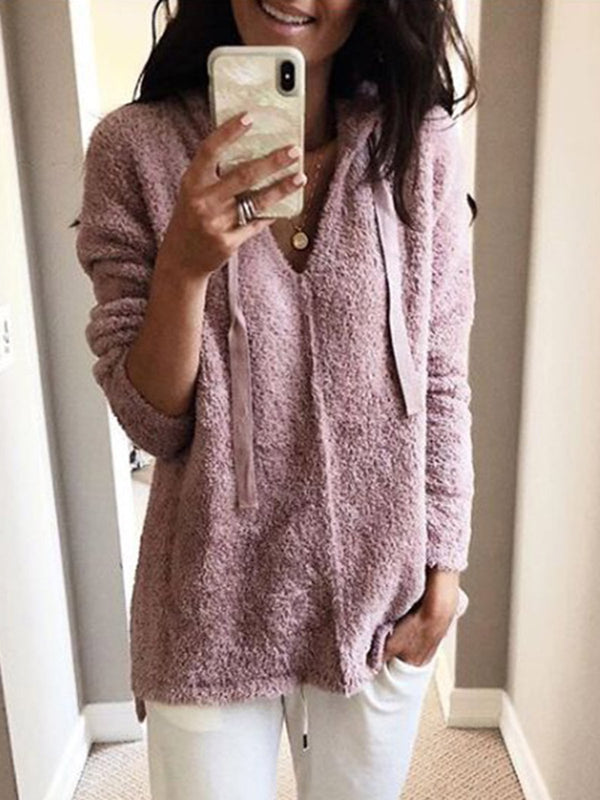 Solid Vintage Long Sleeve Hoodie V Neck Warm Teddy Bear Sweaters