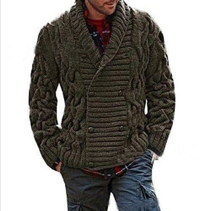 Men's Thicken Jacquard Solid Color Cardigan Sweaters