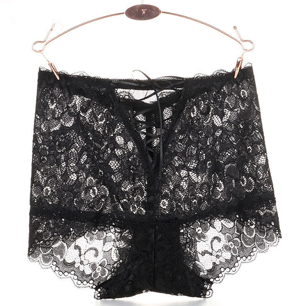 Floral Embroidered Lacing Hollow Mid Waist Panties