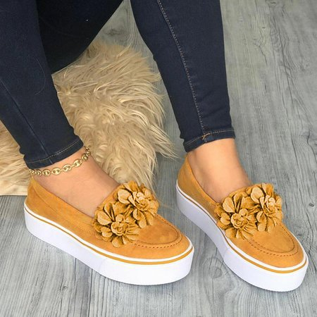 Women Flower  Suede Sneaker  Shoes