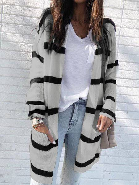 White Knitted Casual V Neck Stripes Outerwear