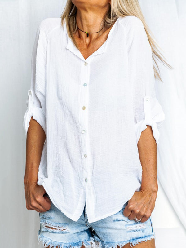 White Casual Linen Solid V Neck Shirts & Tops