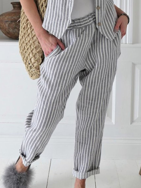 Women Striped Pants Pockets Elastic Waist Casual Capri Pants