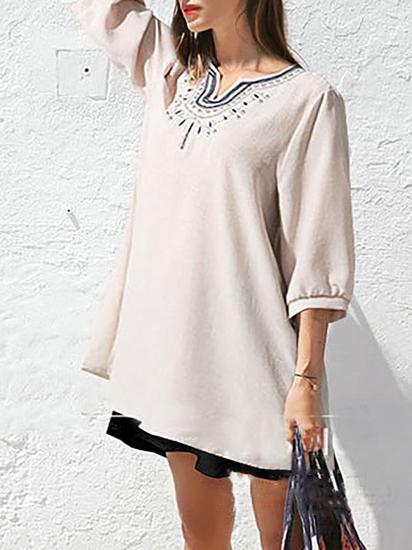 V neck Elegant Embroidered Half Sleeve Plus Size Blouse