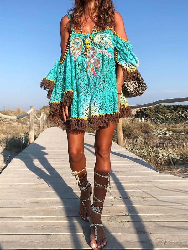 Off Shoulder Fringe Boho Shift Dresses