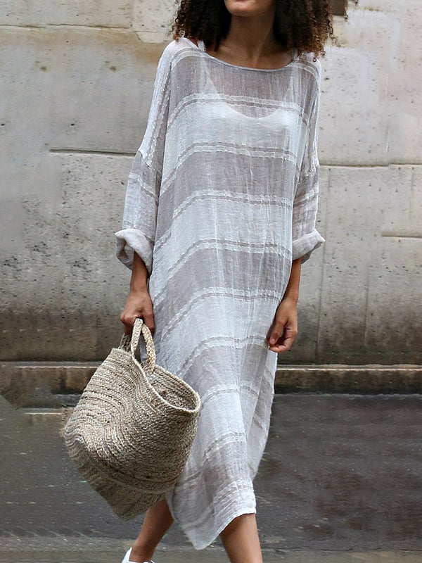 Long Sleeve Linen Soft Stripe Dresses