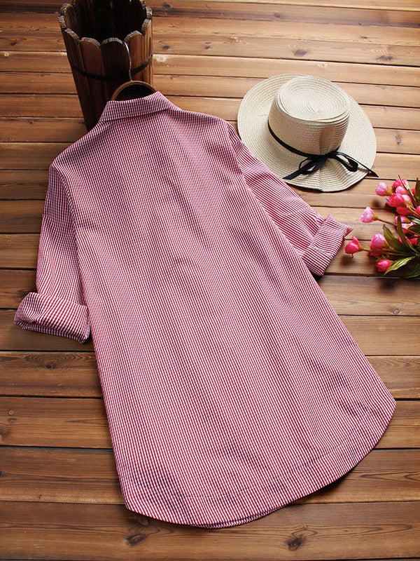 Long Sleeve Shift Blouse