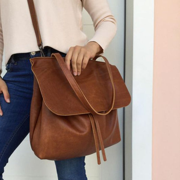 Drawstring Faux Leather Shoulder Bags