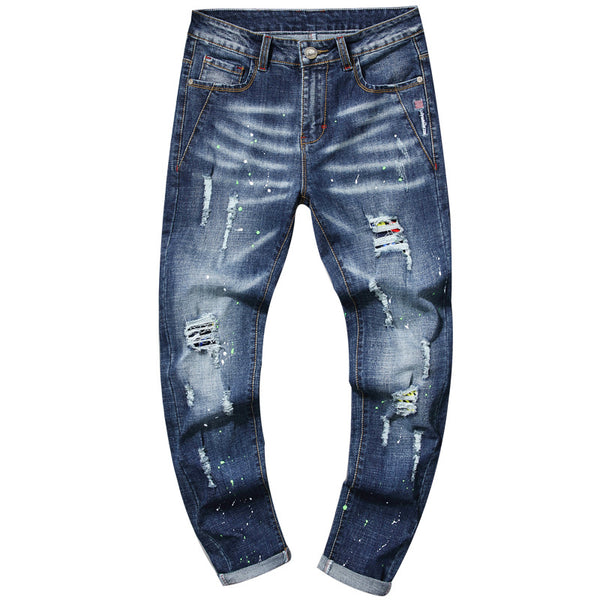 Men's Ripped Embroidery Stretch Straight Jeans