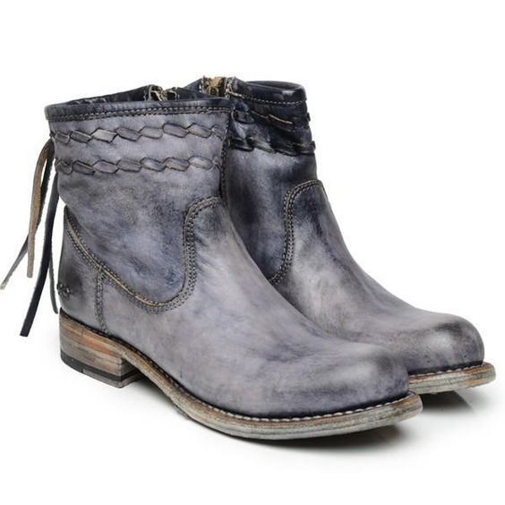 Blue Fall Low Heel Daily Tassel Boots