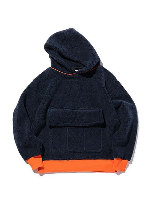Color-Block Hoodie Cocoon Casual Shirts & Tops