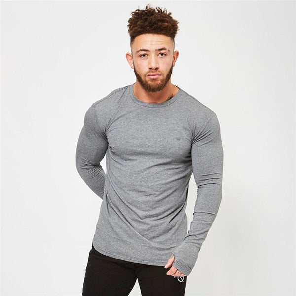 Men's Casual Sports Long Sleeve Elastic Slim T-Shirts