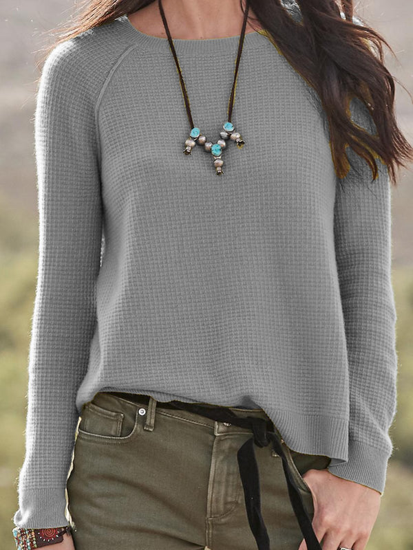 Casual Plain Round Neck Fall Sweater