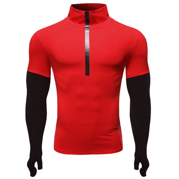 Fitness Men's Long Sleeve High Round Neck Fake Two-Piece T-Shirts