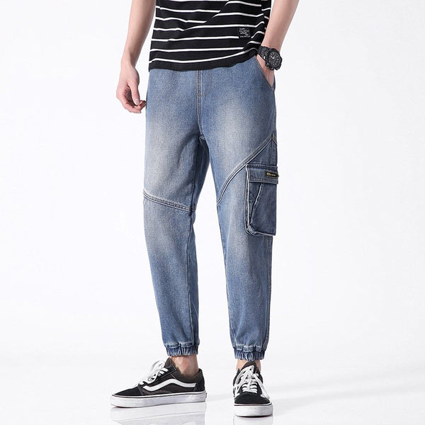 Blue Pockets Denim Casual Solid Pants