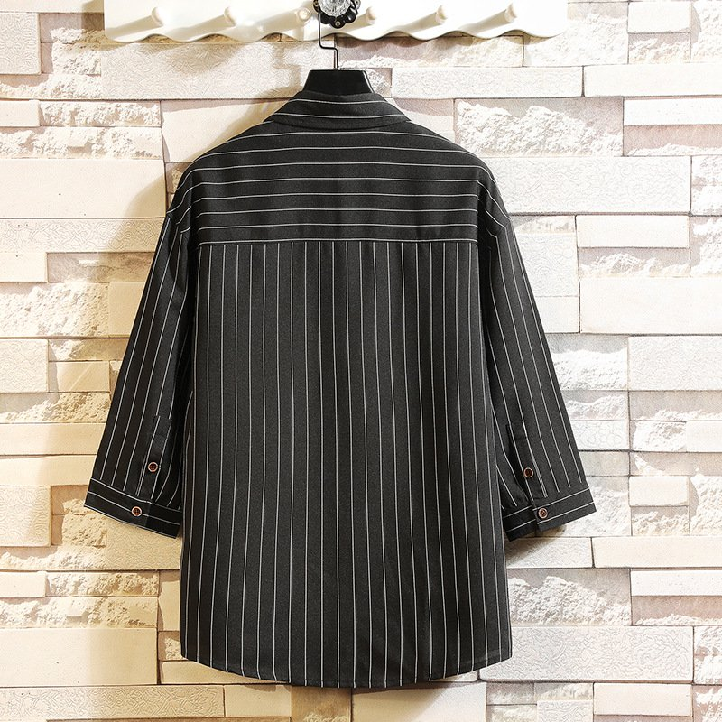 Black Stripes Beach Cotton Shirts & Tops