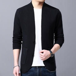 V Neck Solid Knitted Outerwear